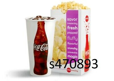 AMC Large Popcorn and Large Fountain Drink expires 6/30/2020 fast e-delivery