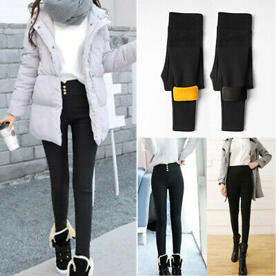 Women Fleece Thermal Winter Warm Lined Thick Full Length Stretchy Leggings Pants