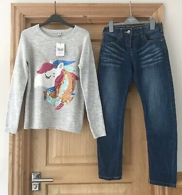 Top NEW - NEXT TU *12y GIRLS JEANS & UNICORN JUMPER OUTFIT Winter 12 YEARS