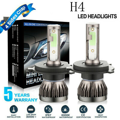 2-Sides CREE H4 LED Headlight Kit Bulbs Hi/Lo Beam 6000K 9003 HB2 2500W 375000LM