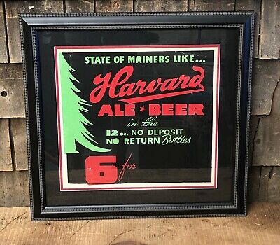 RARE Vintage Mainers Like HARVARD ALE BEER Bar Pub Advertising Sign Framed