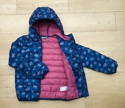NEXT * 7y GIRLS WINTER PUFFA LIGHTWEIGHT COAT JACKET HOOD FLORAL 7 YEARS