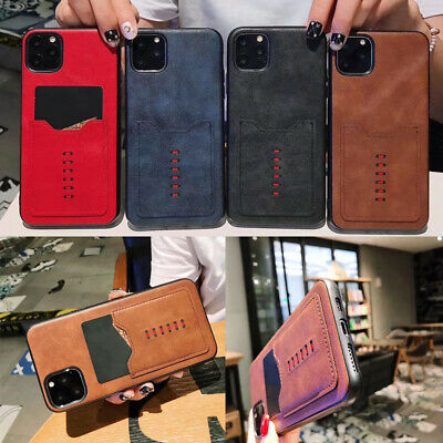 For iPhone 11 Pro Max XR XS MAX X 8 7 6 Hybrid TPU Leather Card Slot Case Cover