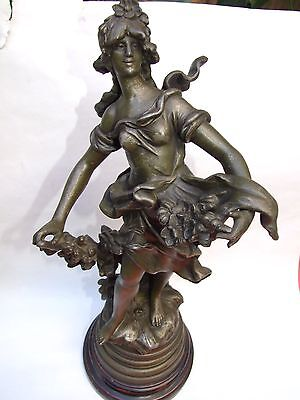 "Antiques French ""Auguste Moreau"" Maiden Spelter Statue Signed w Base 1890's Rare"