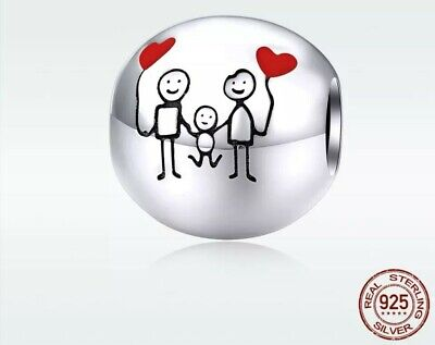 Family Love Child Baby Pendant Ball Genuine 925 Real Sterling Silver Charm Cute