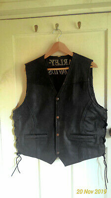 Leather waistcoat Harley Davidson embroidered