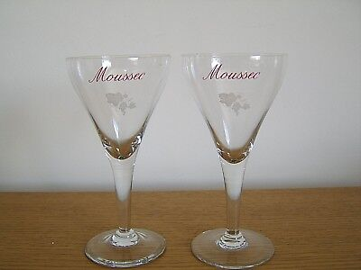 NEW AND UNUSED. TWO VEUVE DU VERNAY FRENCH SPARKLING WINE GLASS FLUTES