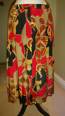Beautiful Vintage Multi Print & Pleated Skirt  Size EU 40, UK 14