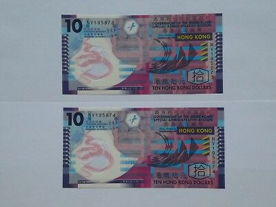 Hong Kong 2 x $10 polymer notes - uncirculated condition - consecutive numbers