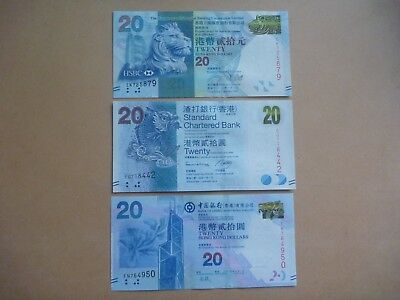 Hong Kong 3 x $20 note from 3 banks - uncirculated condition - last chance