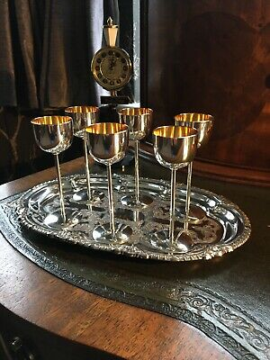 6 Silver Plated Aprritif Goblets