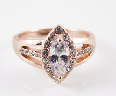 Gold Plated Ring Marquise Cut Clear Cubic Zirconia Solitaire With Clear Accents