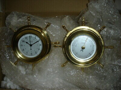 Quality Brass -Weems And Plath - Ships Wheel Porthole Clock And Barometer Set