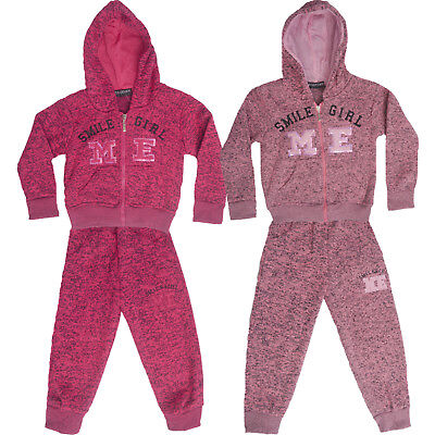 Girls Kids Tracksuit Jogging Set Zipper Hoodie and Bottoms Pink