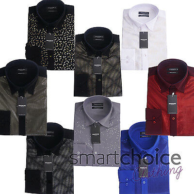 Mens Italian Designer Style Party Shirt Smart Casual Silk Feel All Sizes