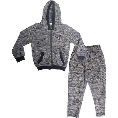 Girls Kids Tracksuit 2pc Jogging Set Zipper Hoodie and Bottoms Grey