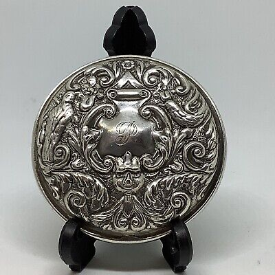 """Lovely Vintage Broadway Sterling Silver Ornate Repousse Hand Pocket Mirror 2.5"""""""