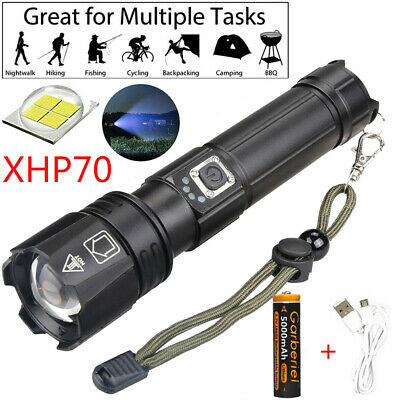990000lm XHP70 Flashlight LED USB Rechargeable 26650 18650 Zoom Torch + Battery