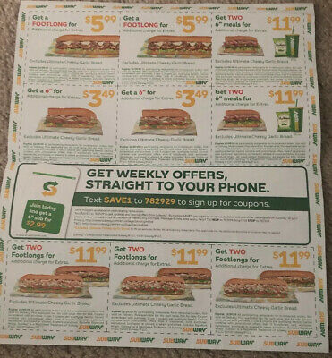 3 Big Sheets Plus Small ones Lot Of SUBWAY Coupons  Exp. 12/13/19