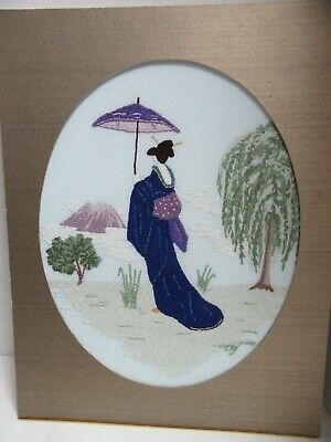 Finished Punch Needle Embroidery Asian Geisha Woman Umbrella Mt Fuji Completed