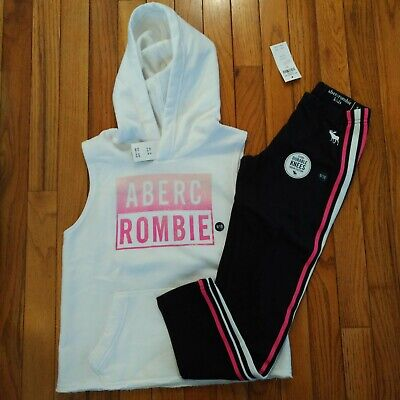 NWT Abercrombie & Fitch Kids Girls Sleeveless Hoodie/Joggers Size 9 10