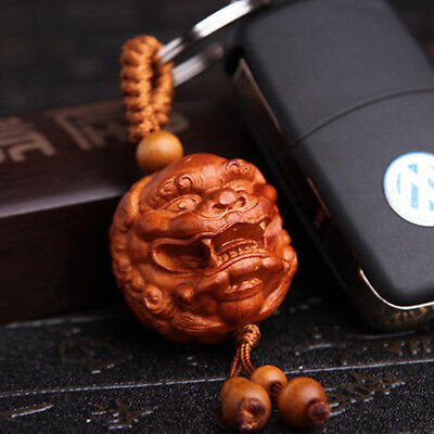 Chinese Pixiu Wood Carving 3D Statue Pendant Key Chain Rings Amulet Collection
