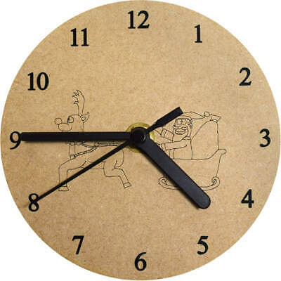 'Father Christmas' Printed Wooden Wall Clock (CK001506)
