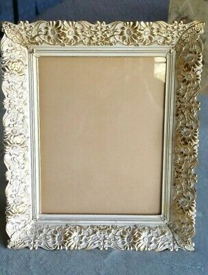 Vintage Gold/Ivory Ornate Heavy Cast Metal Frame ~ 8 × 10