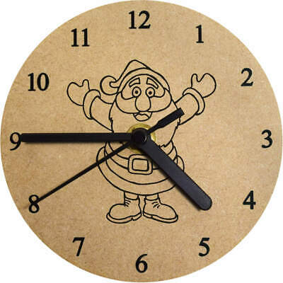 'Father Christmas' Printed Wooden Wall Clock (CK002522)