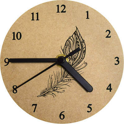 'Ornate Feather' Printed Wooden Wall Clock (CK003116)