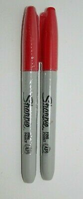 2 - Sealed Sharpie Permanent Markers, Fine Point, RED Ink Holiday Marker