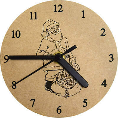 'Father Christmas With Sack' Printed Wooden Wall Clock (CK003439)