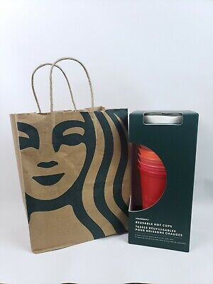 NEW Starbucks 2019 Winter Holiday Christmas Reusable Hot Cups 6 Pack Lids Reds