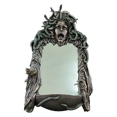 Medusa Head of Snakes Gothic Wall Mirror Décor Statue Sculpture Bronze Finish