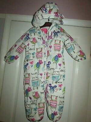 girls gorgeous cat patterned hooded snowsuit from Next age 2-3yrs
