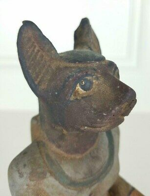 Antique Egyptian Cat Bastet Sandstone? Polychrome faience? Poss Early Dynasty
