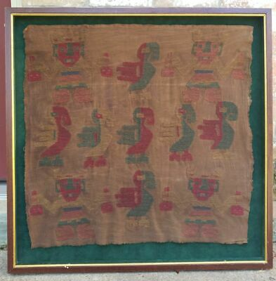 LG Museum Quality Large Antique Pre Columbian Textile Figures Birds Peru Chimu