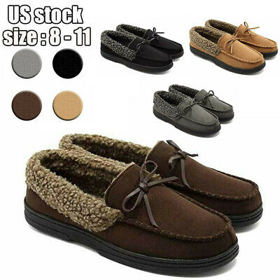 Men's Wool Micro Moccasin Slippers Suede Shoes Memory Foam Plush Fleece Lined