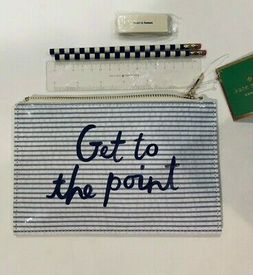 Kate Spade Seersucker Pencil Pouch/case Faux Patent Get To The Point w/ Pencils