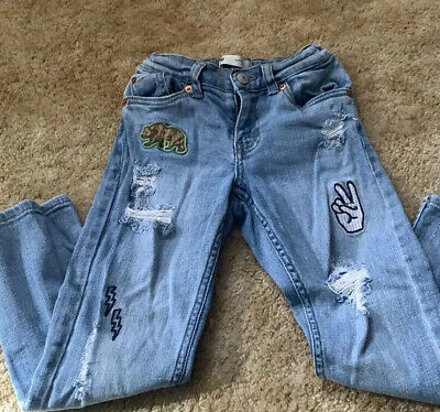 Levis Slim 511?Boys Light Blue Distressed Jeans With Patches Size 6
