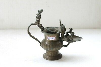 Antique Brass Handcrafted Ganesha Engraved Oil Lamp With Incense Burner NH5114