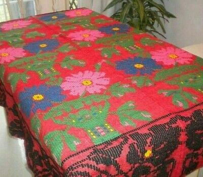 Antique WOOL Handmade Heavy Embroidery Coverlet Blanket Multi-Color Flowers RED