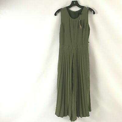 J Crew Womens Dewberry Jumpsuit Pleated Sleeveless Scoop Neck Olive Green Size 2