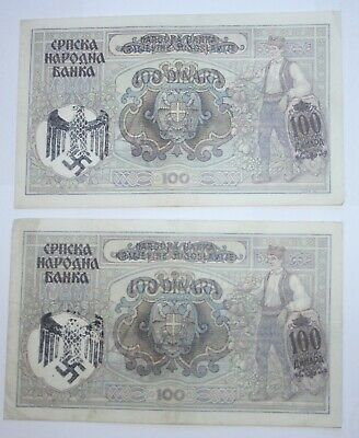 WW2 Serbia 100 Note. Wehrmacht Eagle (Closed Wing). VERY RARE. £6 each.