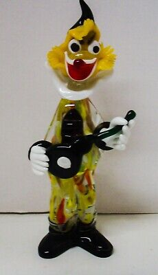"Vintage Italian Murano Multicolored Glass Clown Figurine w/ Guitar 11"" tall"