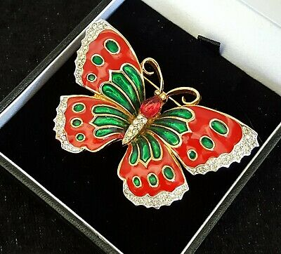 French red & green enamel vintage Art Deco antique butterfly brooch