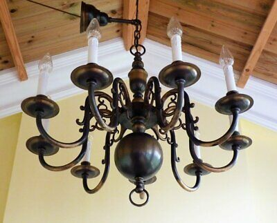 Stunning Large Vintage Brass Flemish Chandelier 9 arm Light heavy quality
