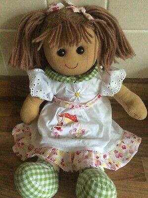 Powell Craft Traditional Rag Doll Soft Toy Brown Hair Green Gingham Pink Fairy