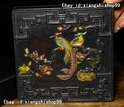 "7"" Chinese Palace Rosewood Wood Inlay Jade Gem Flowres Birds casket Jewelry Box"