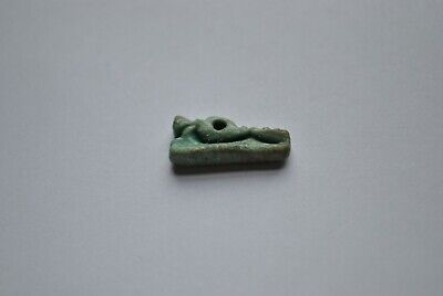 Ancient Egyptian Late Period (c. 725 - 332 B.C.) Green Faience Crocodile Amulet